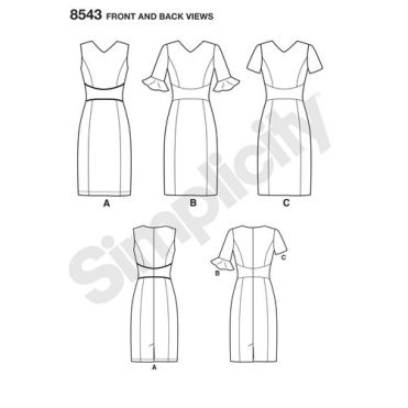simplicity-amazing-fit-dress-pattern-8543-front-back-view